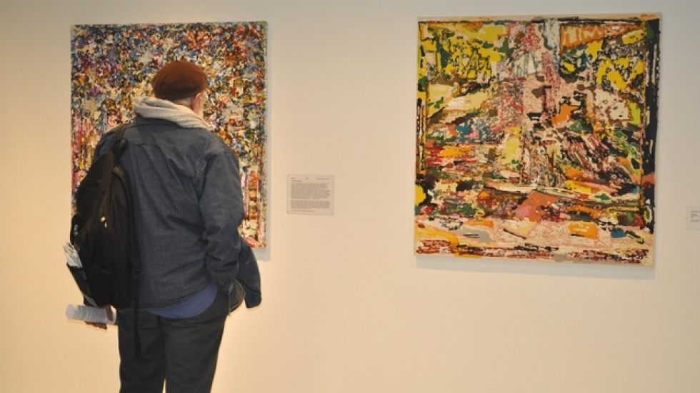 Matthew Kolodziej paintings in The Expansive Gesture exhibition at Cleveland Clinic, 2010, image courtesy Cleveland Clinic Arts & Medicine