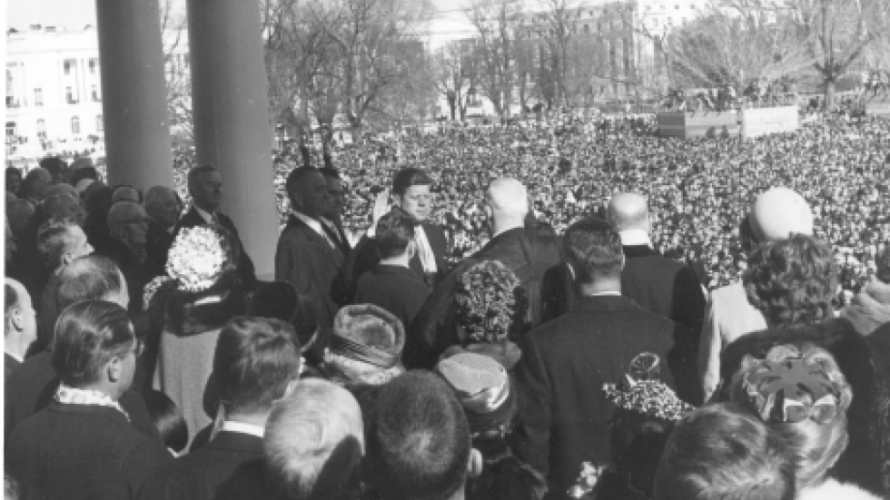 President John Kennedy being sworn in, 1961. Photo courtesy of John F. Kennedy Presidential Library