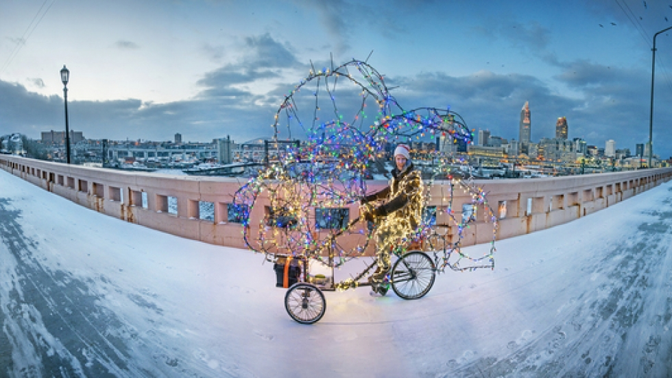"Jimmy Kuehnle. ""Twinkling Tricycle Tour of Enchantment."" 2012, Photo by Rob Muller.  Courtesy of the artist."