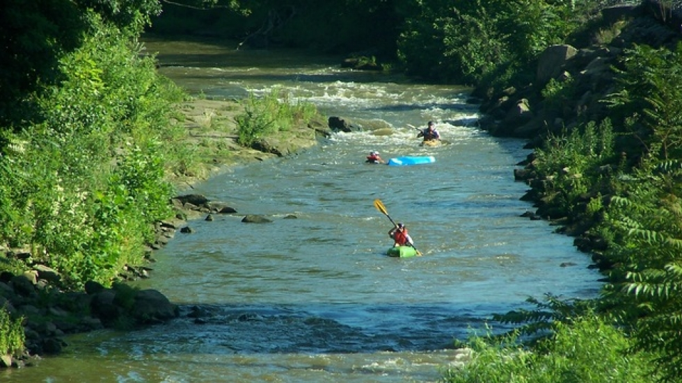 Kayakers on the Cuyahoga River in Kent.