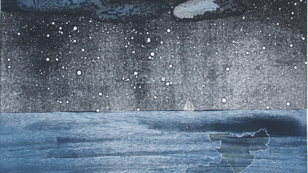 """Last Ship Off the Island2013 Intaglio, relief, monoprint, chine colle' on hand-made paper 32""""x32.5"""""""