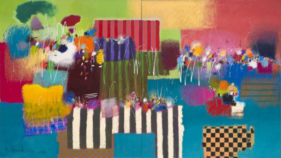 Moe Brooker - Everything is on its way to somehow, 2008, (diptych), 72 x 127, Oil on canvas