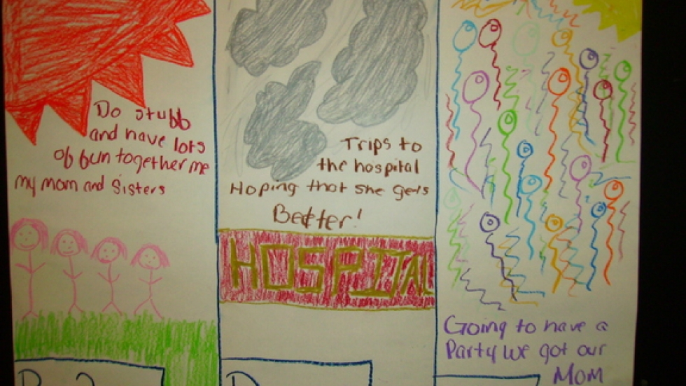 A 12 year old girl draws what life was like before and after her mother's cancer.