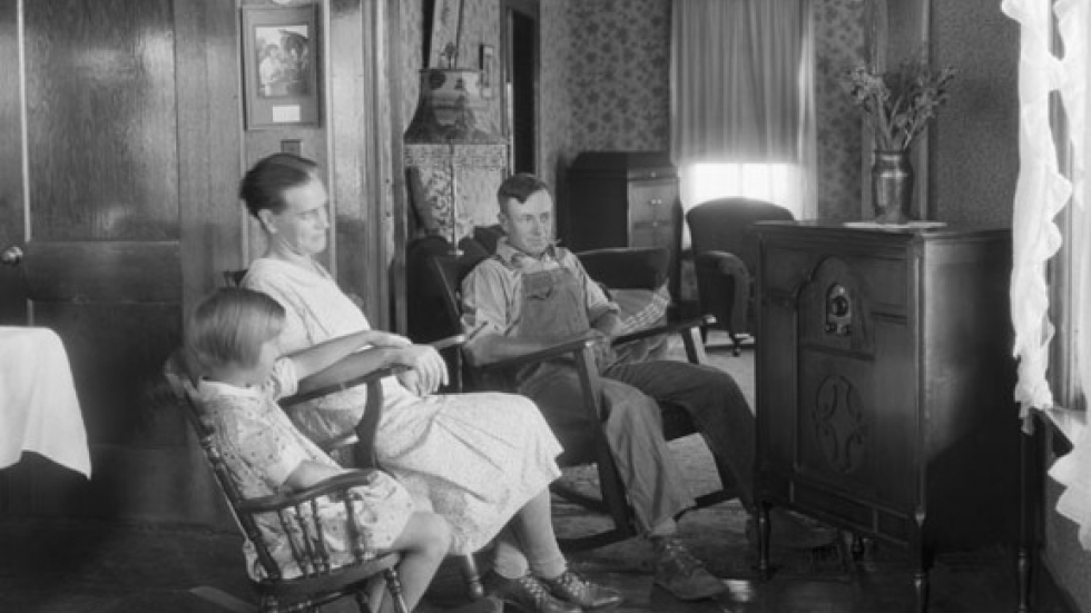 Farm family listening to their radio By George W. Ackerman, probably Ingham County, Michigan, August 15, 1930