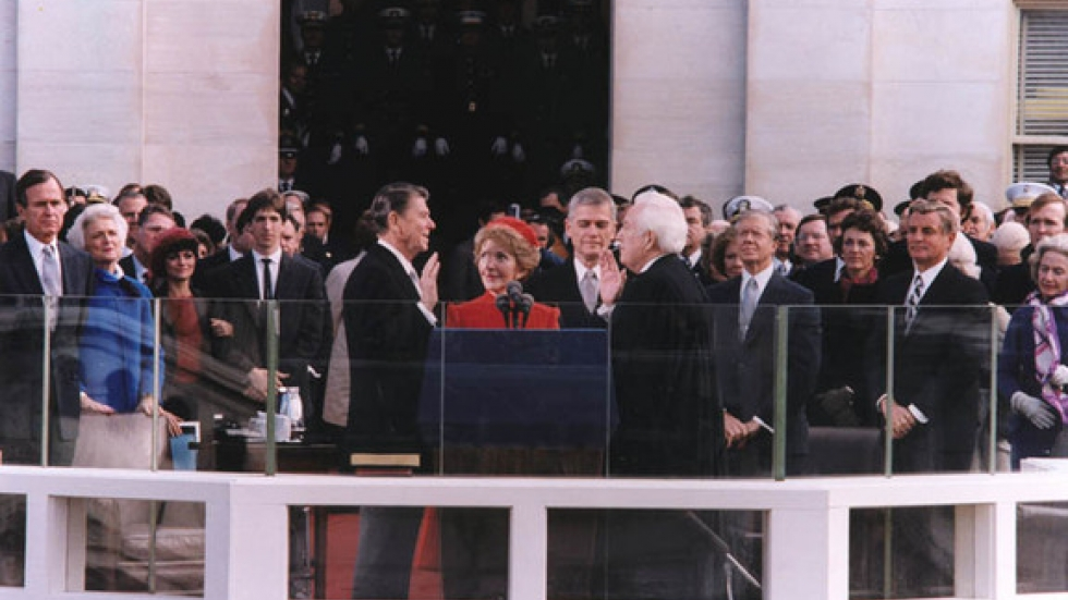 President Ronald Reagan being sworn in, 1981. Photo courtesy of the Ronald Reagan Presidential Library and Museum