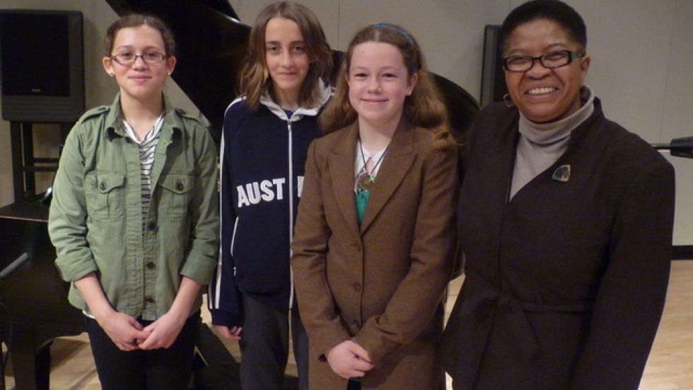 Sarah Caley, Grace Hecky and Kira Cseak, 6th graders, Spring Garden Waldorf School w/ Dee Perry