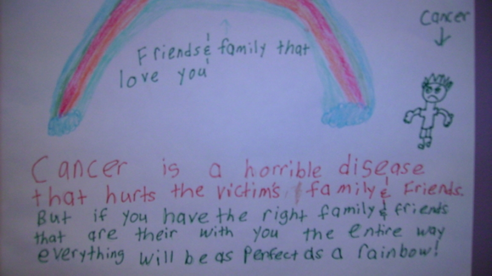 An eight year old boy thinks cancer is scary but friends and family can help.
