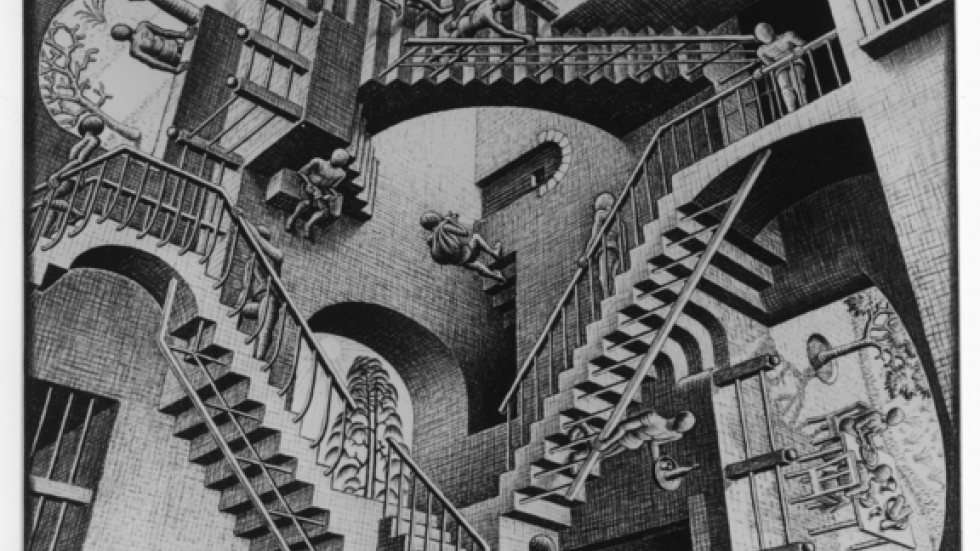M.C. Escher, Relativity, 1953, Lithograph, 11 x 11 ½ in. © the M.C. Escher Company B.V. – Baarn – the Netherlands. Used by permission. All r