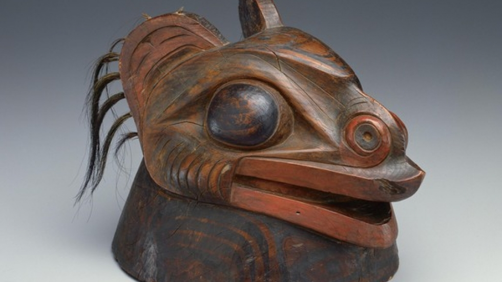 War Helmet, ca. 1780-1840. Tlingit, Southeastern Alaska. Thaw Collection