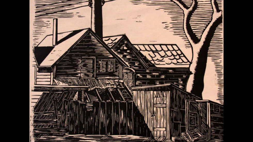 'Tool Shed' Fred Carlo, linocut