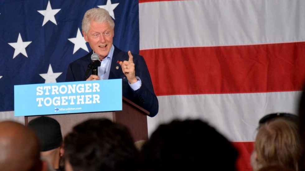 Former President Bill Clinton speaks to supporters in Canton.