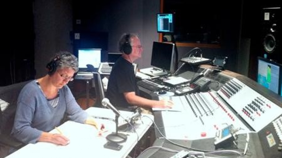 Erica Brenner and Tom Knab in control room