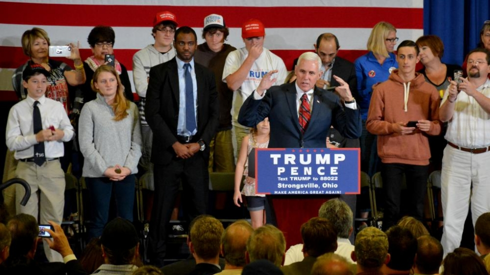 Mike Pence speaks to supporters in Strongsville earlier in October.