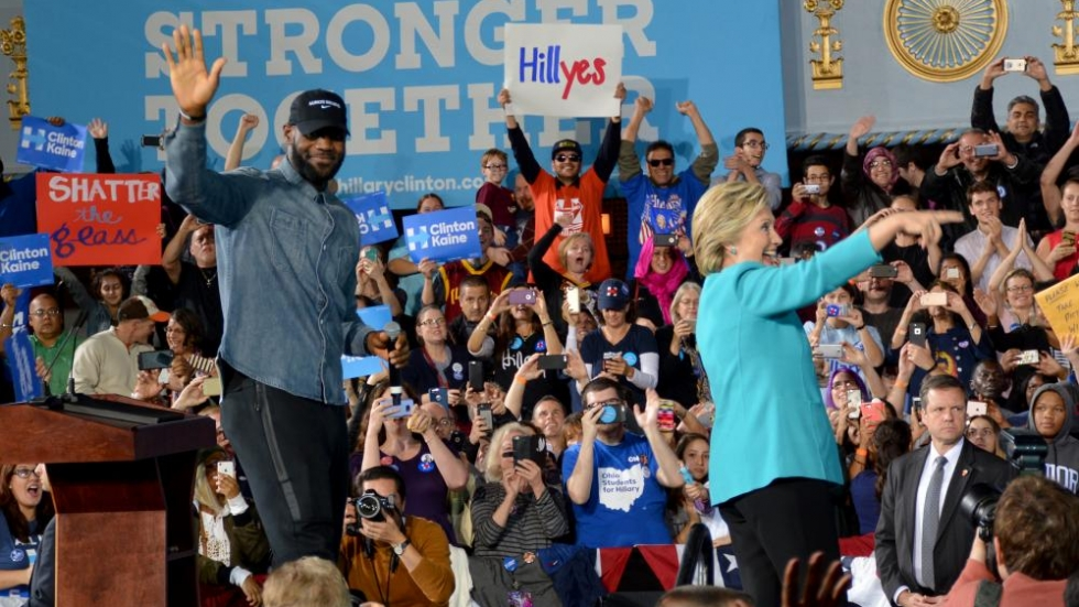 Hillary Clinton and LeBron James greet supporters in downtown Cleveland.