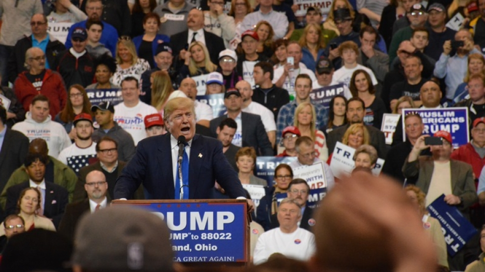 Donald Trump speaks to the crowd at the IX Center in March.