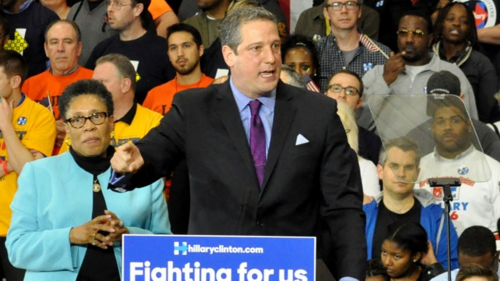 Rep. Tim Ryan speaks at a rally for Hillary Clinton's presidential campaign.