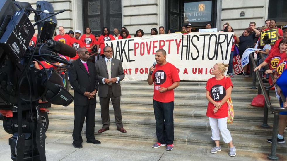Members of Raise Up Cleveland at Cleveland City Hall on August 11.