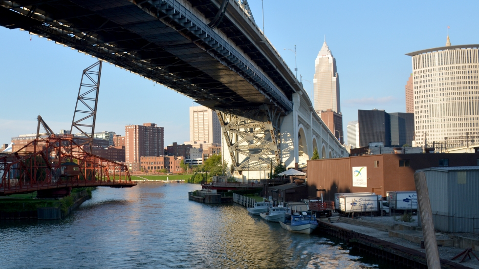 The Cuyahoga River winds through Cleveland's industrial and entertainment areas.