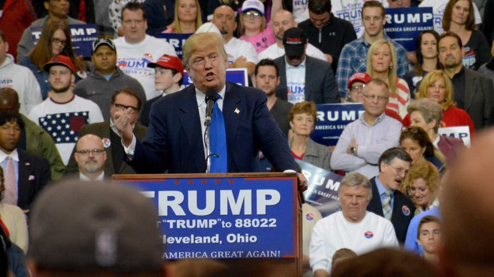Donald Trump speaks at a rally in Cleveland in March.