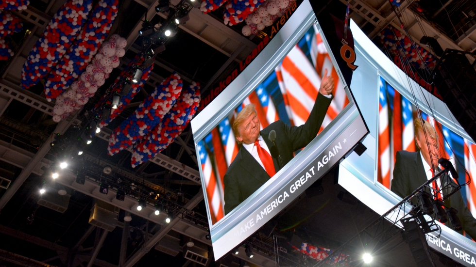 Donald Trump gives a thumbs-up at the Republican National Convention in Cleveland.