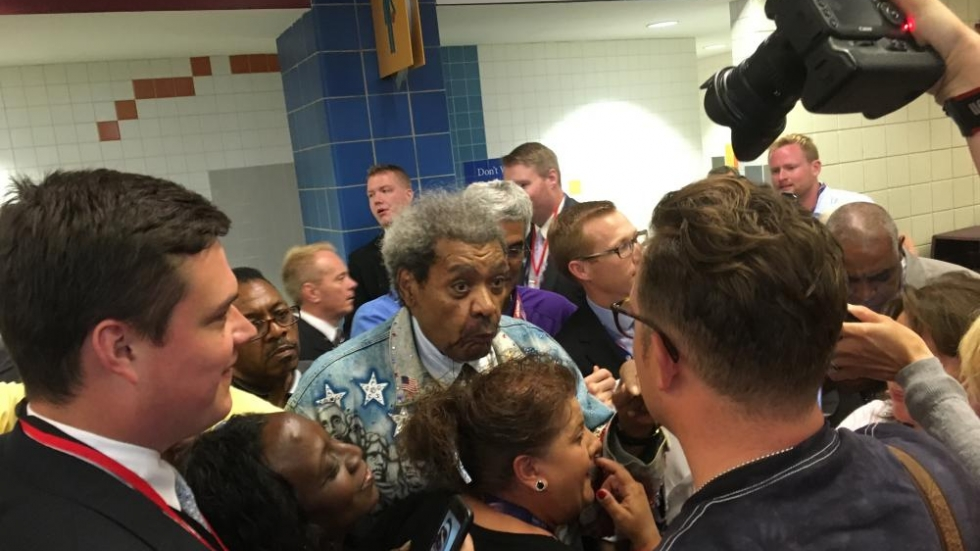 Don King talks with reporters and others at the Q.