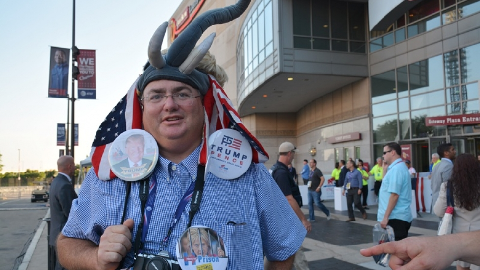 Mike Lachs wears an elephant hat and giant buttons.