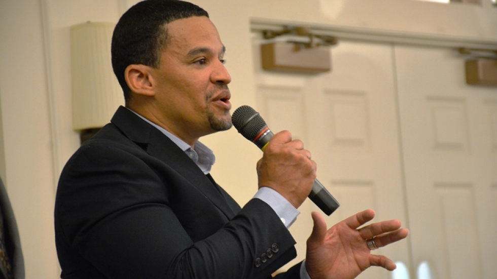 East Cleveland Mayor Gary Norton speaks at a meeting on city finances in May.