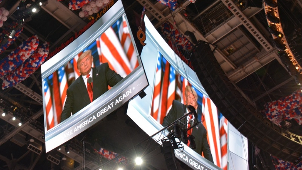 Donald Trump speaks in Cleveland at the RNC.