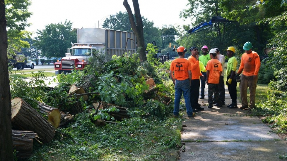 Workers talk while clearing away debris in Cleveland Heights.
