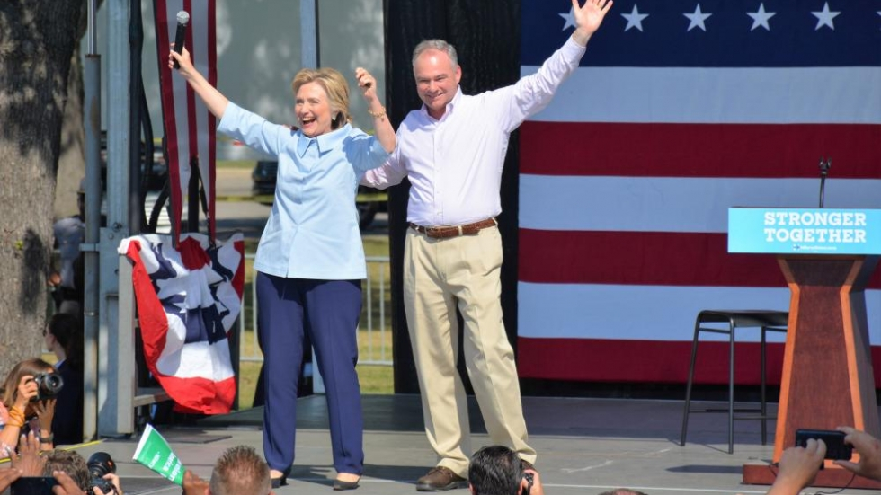 Hillary Clinton and Tim Kaine greet supporters in Cleveland.
