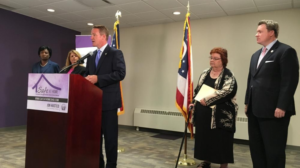 (L to R) State Senator Sandra Williams, Linda Johanek (CEO Domestic Violence & Child Advocacy Ctr), Nancy Neylon (Exec Dir Ohio Domestic Violence Network), State Rep Mike Duffey