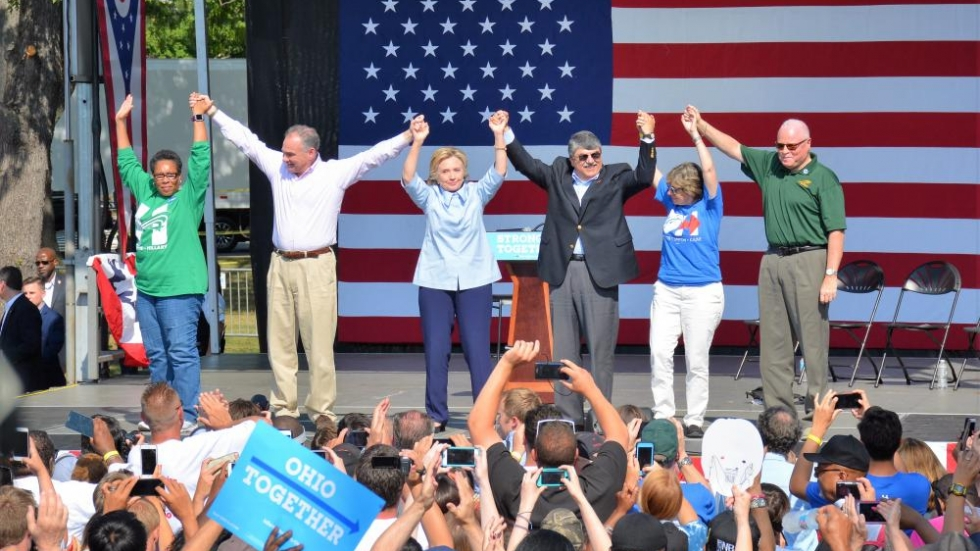Hillary Clinton and Tim Kaine greet supporters at an event in Cleveland.