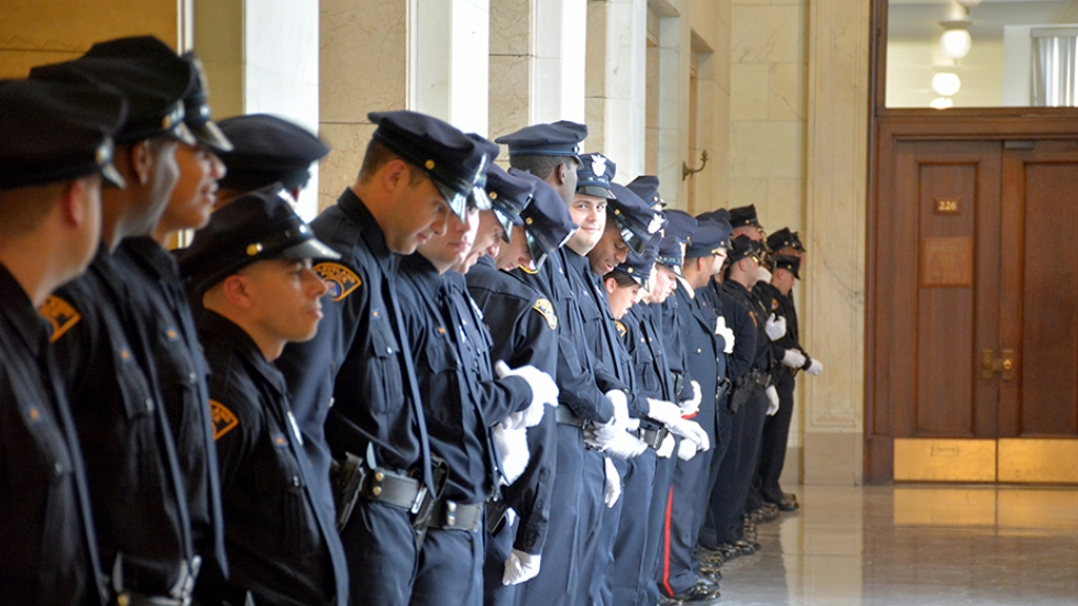 New Cleveland police officers wait to greet city officials in this file photo from 2015.