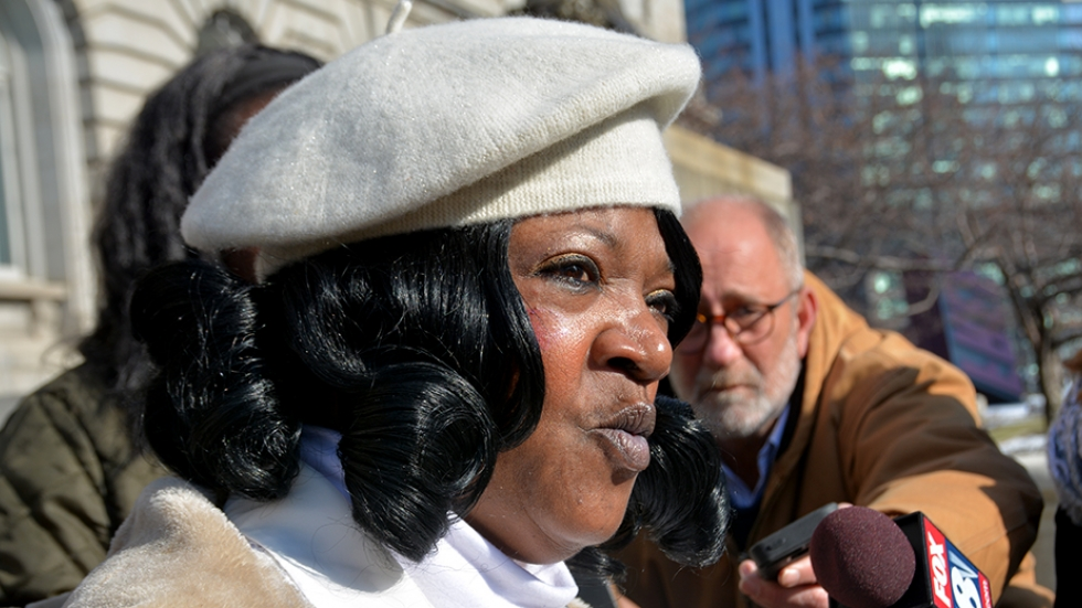 Cassandra Johnson, Tanisha Anderson's mother, speaks to reporters outside Cleveland city hall on Feb. 6.