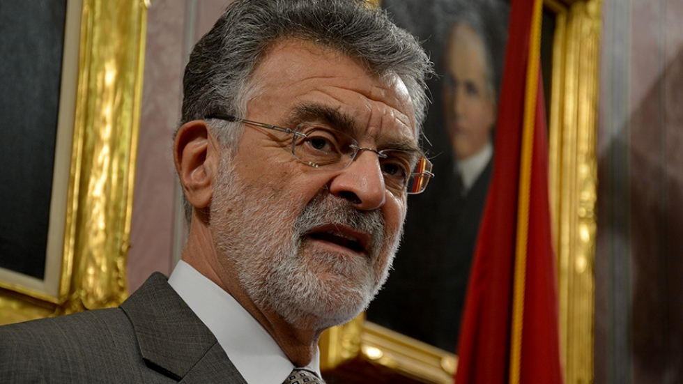 Cleveland Mayor Frank Jackson briefs reporters on the city budget in 2016.