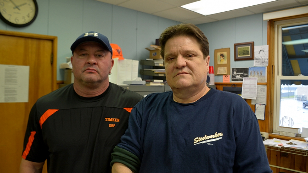 Joe Plott, left, and Bob Harper of United Steelworkers 1123 stand in the union's office in Canton.