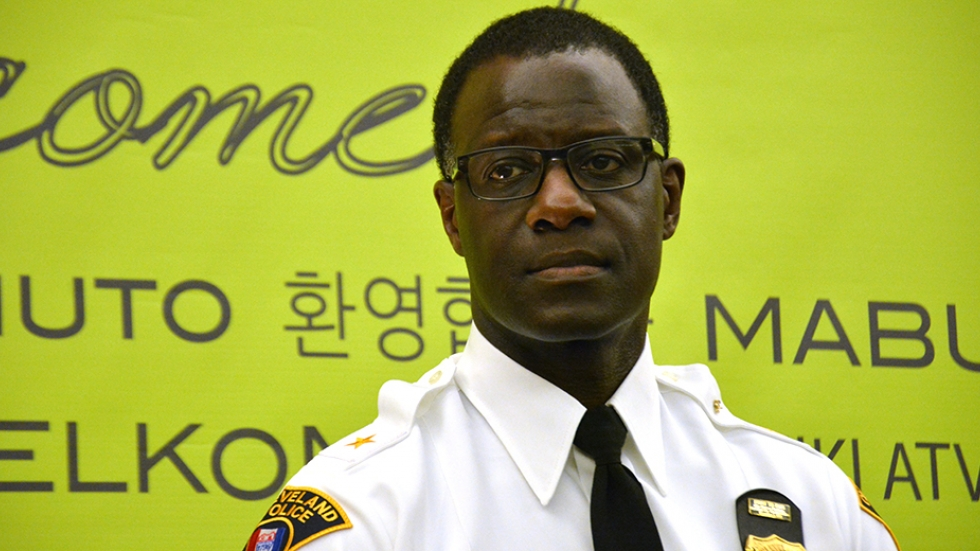 Cleveland Police Chief Calvin Williams speaks at an unrelated meeting Wednesday night.