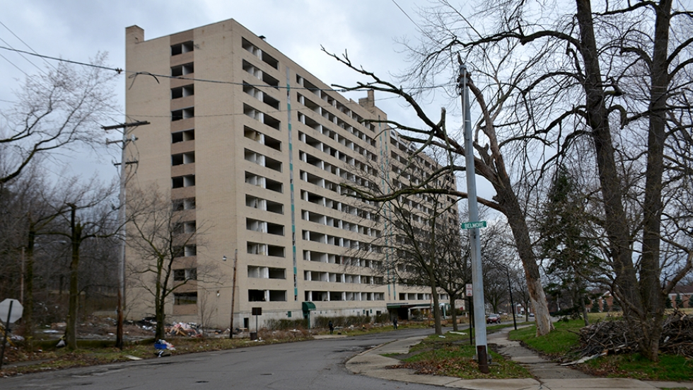 Huron Place Apartments was once a 254-unit affordable housing complex. Today, just a shell remains.