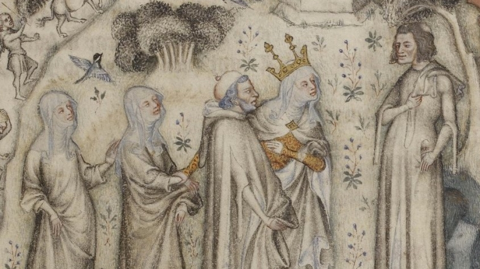 Machaut (at right) receiving Nature and three of her children. From an illuminated Parisian manuscript of the 1350s.