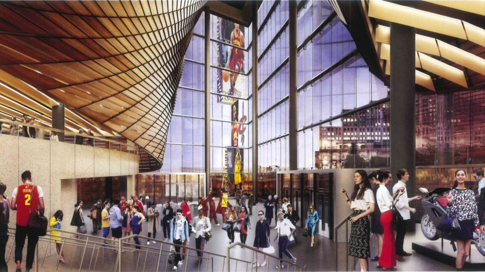 An artist's drawing of the proposed glass atrium to be built at Quicken Loans Arena. [Provided by the Cavaliers to Cleveland City Council]