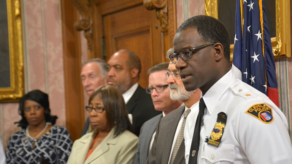Cleveland Police Chief Calvin Williams addresses media at a Monday afternoon news conference.