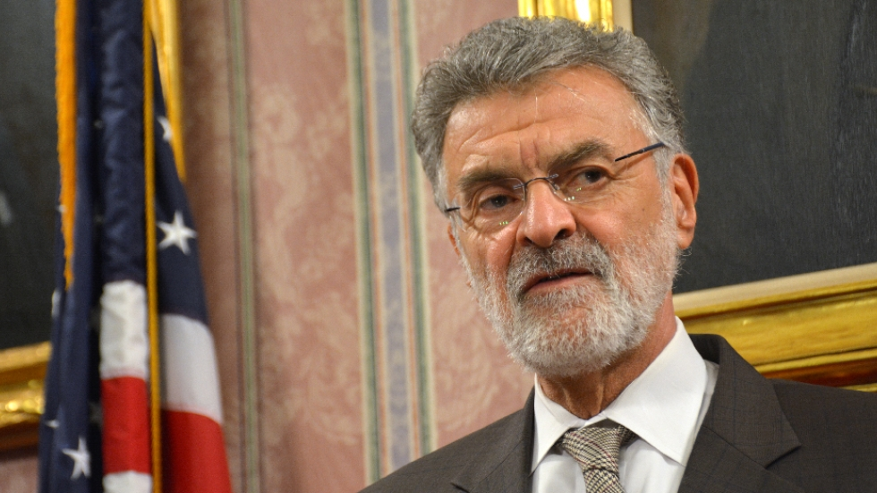 Cleveland Mayor Frank Jackson talks with reporters on Thursday about his neighborhood investment plan.