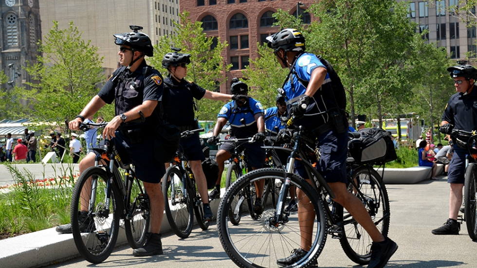 Cleveland and Akron police patrol Public Square during the Republican National Convention.