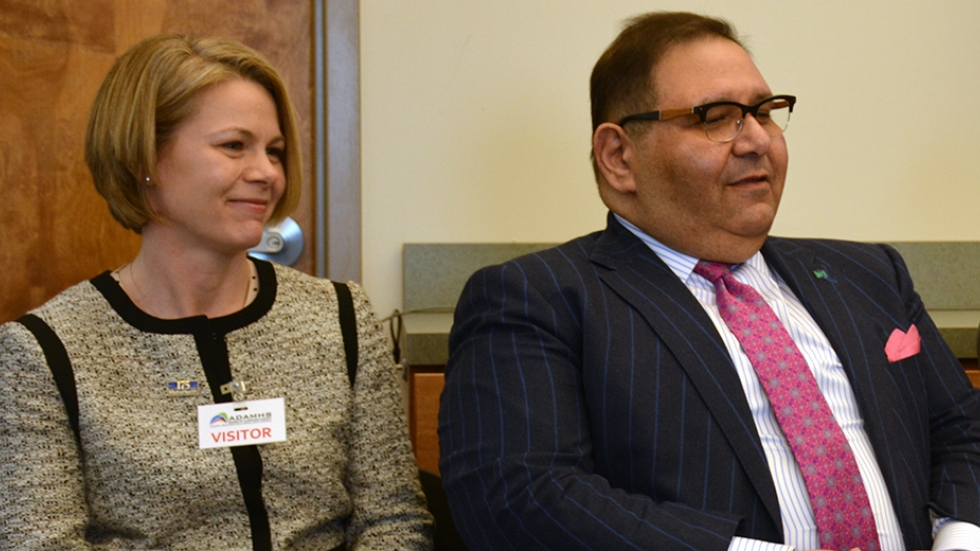 Dr. Joan Papp will lead MetroHealth's new office of opioids safety. Here she sits with Metro CEO Dr. Akram Boutros in a 2015 file photo.