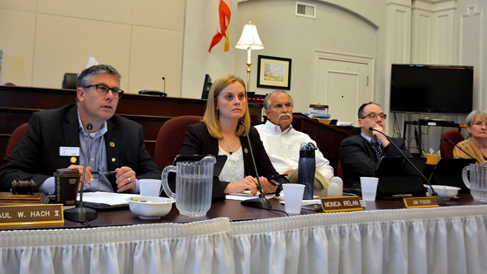 Painesville council members and city manager Monica Irelan, second from left, listen at a recent meeting.
