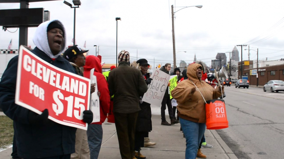 Demonstrators call for a citywide increase in the minimum wage in Cleveland in February this year.