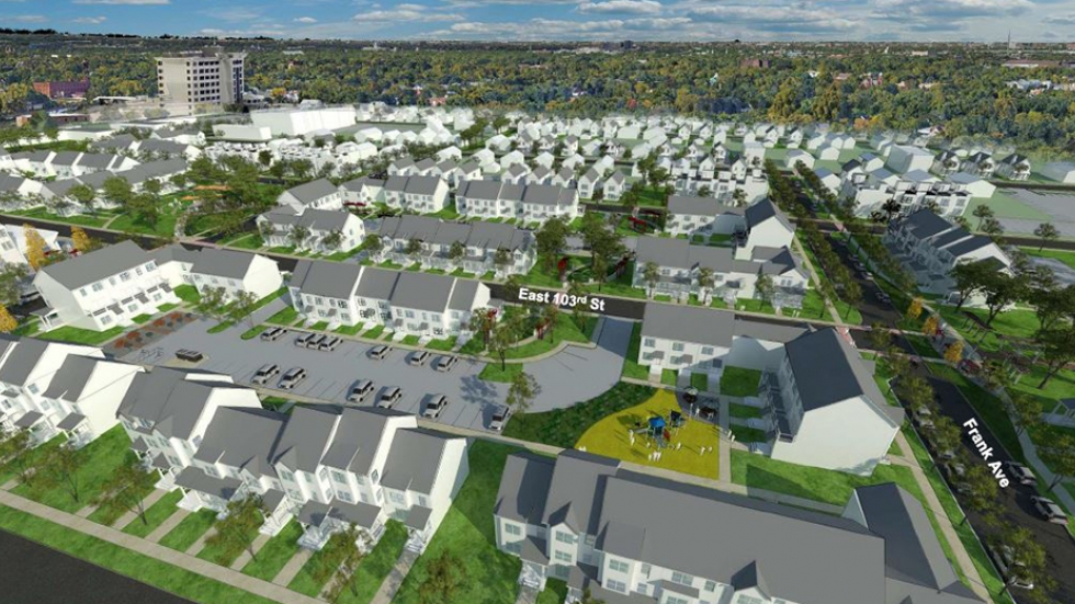 A rendering shows new housing proposed for Cleveland's Fairfax neighborhood.