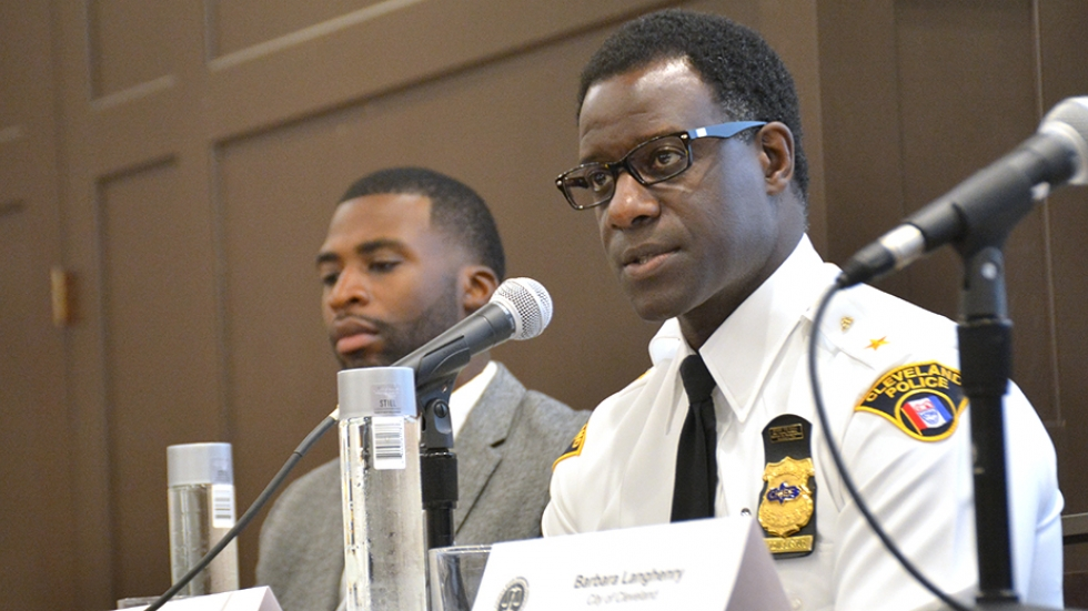 Cleveland Police Chief Calvin Williams addresses a meeting of the National Black Prosecutors Association.