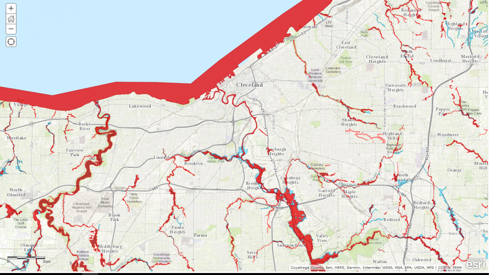 Red Shows Flooding Zones in Cuyahoga County: Image from FEMA