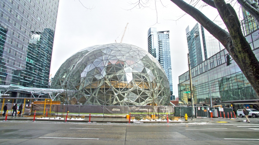 Amazon's three giant glass biosphere domes are under construction in the Denny Triangle area of Downtown Seattle.Photo: By SEASTOCK/Shutterstock.com